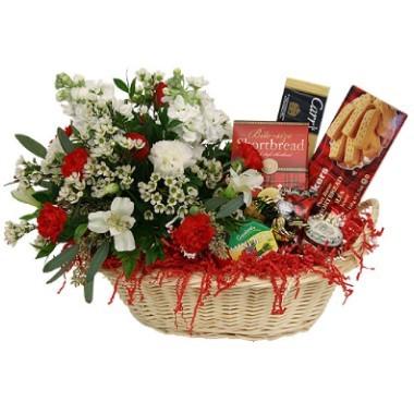 Cesta Gourmet con flores
