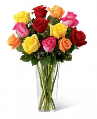 Arreglo en florero de 15 rosas mixtas en color