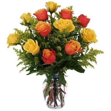 12 rosas amarillas y naranjas. Florero incluido.