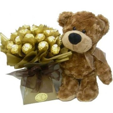 Sólo para Santo Domingo   -  Osito con bouquet de chocolates