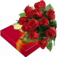 Bouquet de doce rosas con chocolates