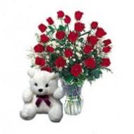 2 docenas de rosas con peluche