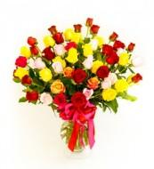 Arreglo de 57 rosas rojas y amarillas