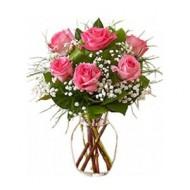 6 rosas rosadas