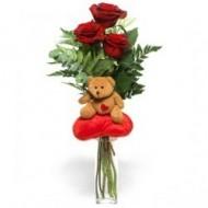 Tierno Peluche con 3 rosas