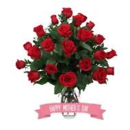 Especial para Mamá Veinte y cuatro rosas en florero
