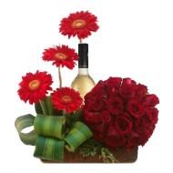 Rosas y Gerberas rojas
