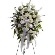 Pedestal de flores blancas